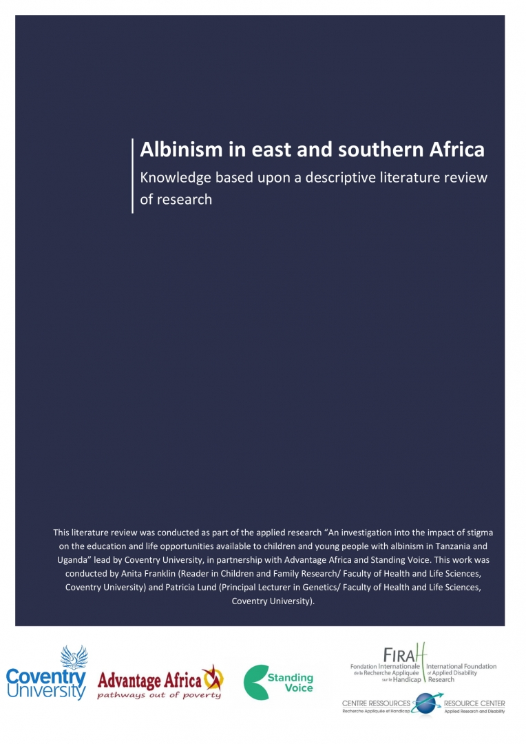 Couverture de la revue de littérature Albinism in east and southern Africa, jpg